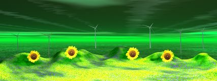 Landscape and wind turbine Royalty Free Stock Photo