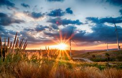 Landscape wind turbine field and Rotary propeller moving royalty free stock photos