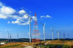 Landscape wind turbine,renewable energy for the environment. And long conservation Stock Photography