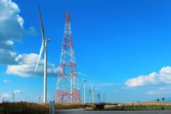 Landscape wind turbine,renewable energy for the environment and sustainable development Stock Photo