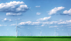 Landscape with wind turbines Stock Photos