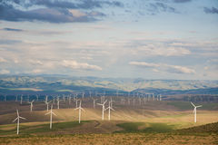 Landscape with wind turbines royalty free stock image