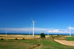 Landscape with wind turbines Stock Images