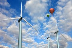 Landscape with wind turbines and balloons Stock Photography