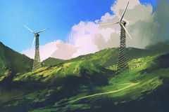 Landscape with wind turbines on the green mountain royalty free illustration