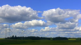 Landscape with wind turbines stock video footage