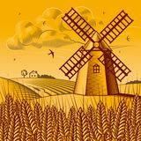 Landscape with windmill vector illustration