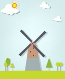 Landscape with a windmill Stock Photography