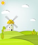Landscape with a windmill Royalty Free Stock Photos