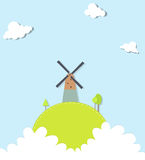 Landscape with a windmill Stock Image