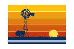 Landscape with Windmill. Graphic Illustration of Landscape with Windmill Stock Illustration
