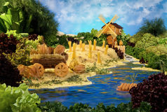 Landscape with windmill made from food Stock Images