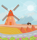 Landscape with windmill and tractor Stock Image