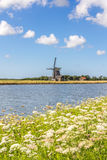 Landscape with windmill and wild flowers Royalty Free Stock Images