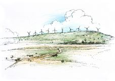 Landscape with windmills Stock Photos