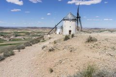 Landscape windmills of Consuegra in Toledo, Spain. They served t. O grind grain crop fields Stock Photo