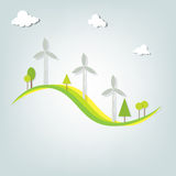 Landscape with windmills Stock Images