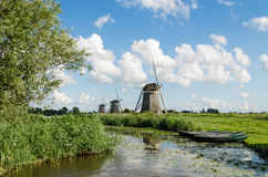 Landscape with windmills in Holland Stock Photography
