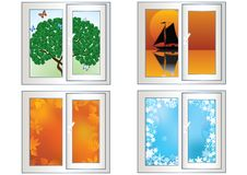 Landscape in the window. Royalty Free Stock Photography