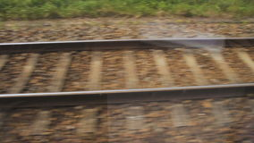 Landscape from window view of a moving train in Germany.  stock video footage