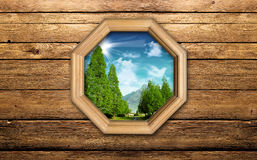 Landscape from the window. Of wood Royalty Free Stock Images
