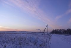 Landscape of winter evening Royalty Free Stock Image