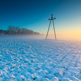 Landscape with winter field under snow at sunset Stock Photos