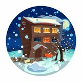 Landscape - winter home, the moon and snow. trees, Stock Photography