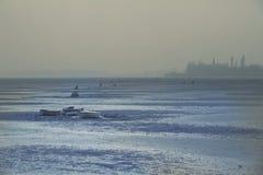 Landscape winter image of a frozen lake. Stock Photo