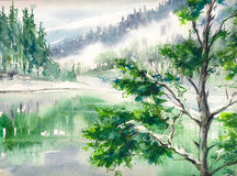 Landscape. Winter landscape with lake and mountains reflecting in water. Picture created with watercolors on paper Stock Photography