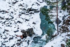 Landscape with winter mountain river Royalty Free Stock Photo