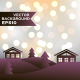 Landscape of winter night with houses and firs. Vector background EPS10. Christmas illustration Royalty Free Stock Photography