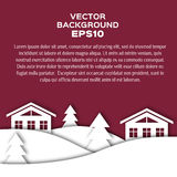 Landscape of winter night with houses and firs. Vector background EPS10. Christmas illustration Stock Image