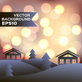 Landscape of winter night with houses and firs. Vector background EPS10. Christmas illustration Stock Photography