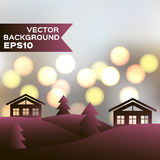 Landscape of winter night with houses and firs. Vector background EPS10. Christmas illustration Royalty Free Stock Photos