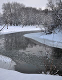 Landscape with winter river Royalty Free Stock Photos