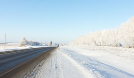 Landscape of winter roads Royalty Free Stock Images