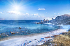 Landscape on winter sea, Royalty Free Stock Photography