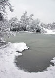 Landscape of winter snow and a frozen lake Stock Image