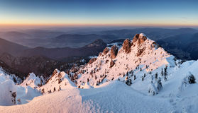 Landscape at winter in sunset moutain, Slovakia Stock Images