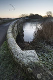 Landscape Winter surnise of river and frosty fields Stock Photo