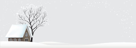 Landscape of winter tree and house snow fall in the night time   Stock Images