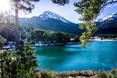 Landscape view of Doxa lake in Korinthia area in Peloponnese in royalty free stock photography