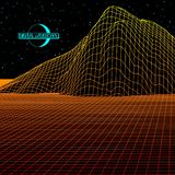 Landscape with wireframe grid of 80s styled retro computer game or science background 3d structure with moon royalty free illustration