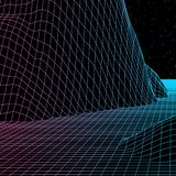 Landscape with wireframe grid of 80s styled retro computer game or science background 3d structure with mountains. Landscape with wireframe grid of 80s styled royalty free illustration