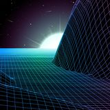 Landscape with wireframe grid of 80s styled retro computer game or science background 3d structure with mountains. Landscape with wireframe grid of 80s styled stock illustration