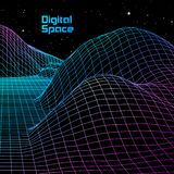 Landscape with wireframe grid of 80s styled retro computer game or science background 3d structure with red mountains stock illustration