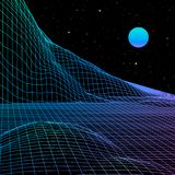 Landscape with wireframe grid of 80s styled retro computer game or science background 3d structure with sun vector illustration