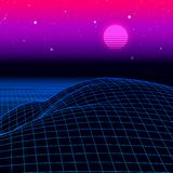 Landscape with wireframe grid of 80s styled retro computer game or science background 3d with sun and mountains vector illustration