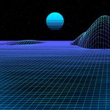 Landscape with wireframe grid of 80s styled retro computer game or science background with sun and mountains royalty free illustration